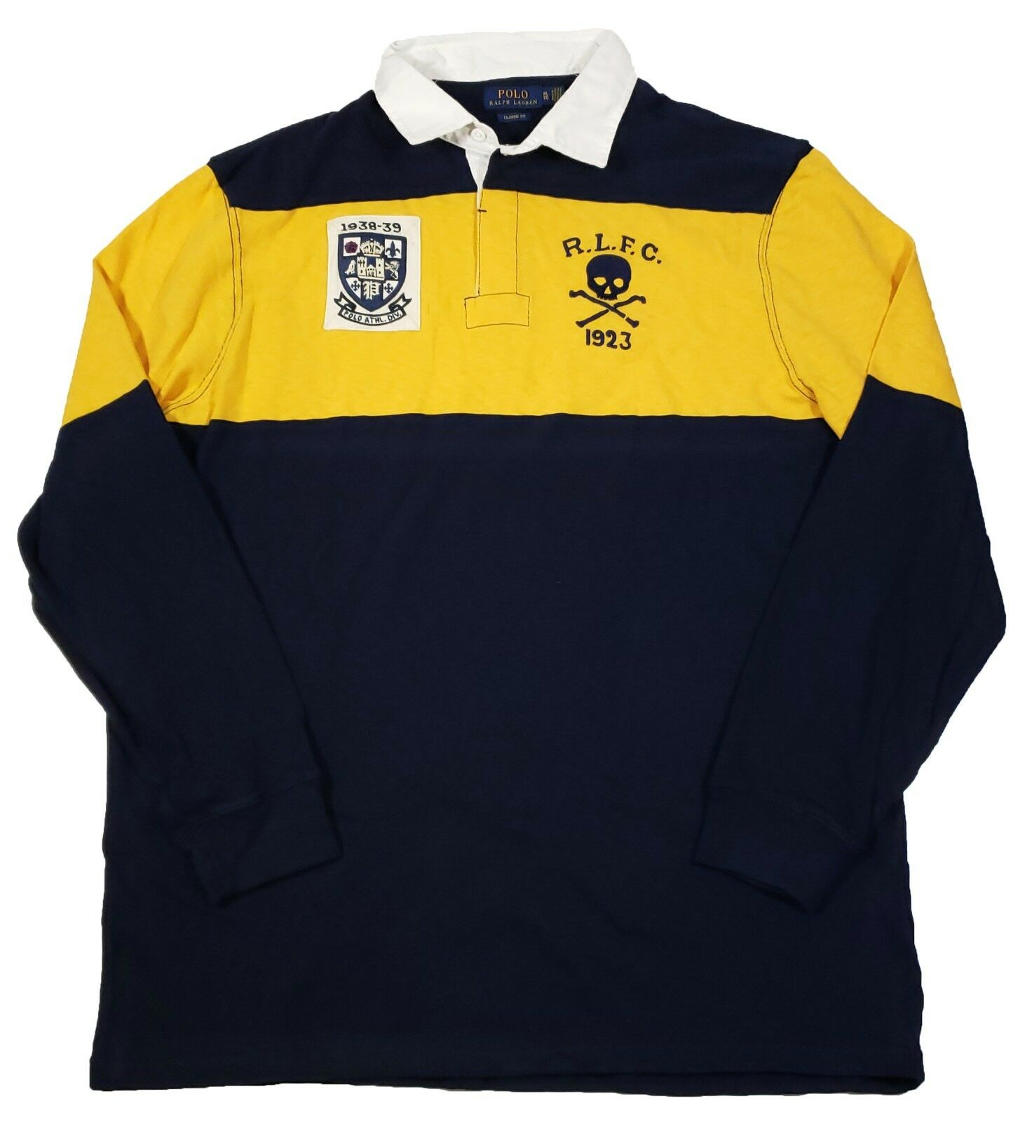 Ralph Polo Patch Fit Classic Shirt Lauren Navyyellow Tall Bigamp; Rugby wPlXuOkiZT