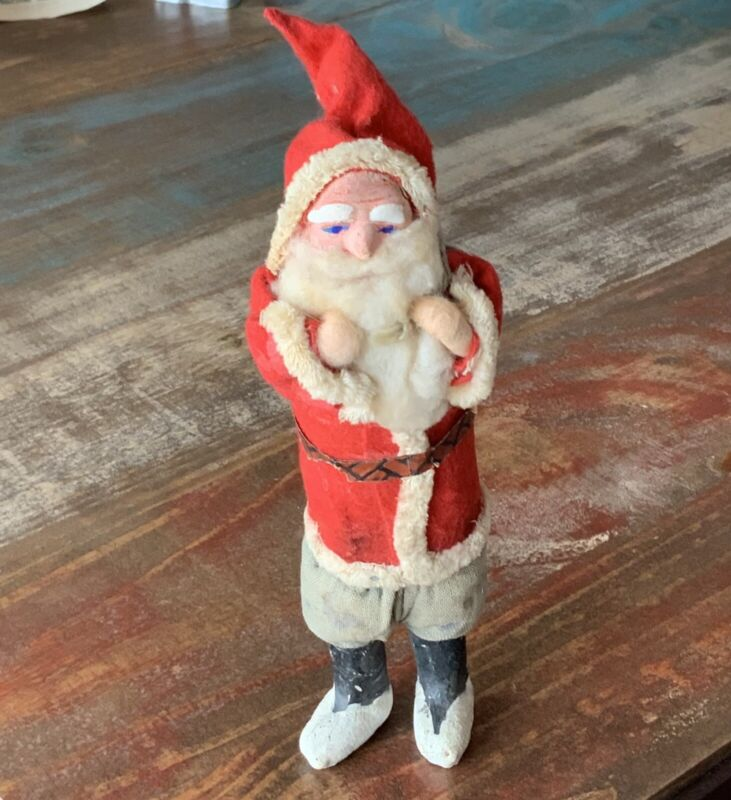 Vintage 8 In Clay Faced Santa Spun Cotton Beard and Hands Christmas Figure