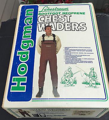 Vintage Hodgman Lakestream Chest Waders Sz 10, Neoprene Bootfoot Lug Sole NEW!
