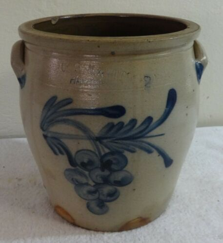 Antique Stoneware 2 Gal. Cowden & Wilcox Crock Blue Decorated with Rare Grapes