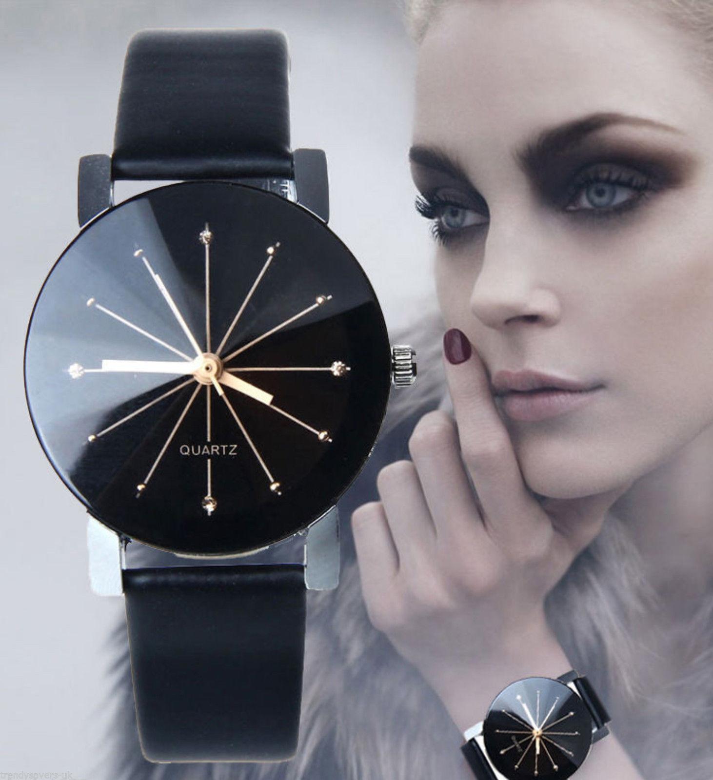 Women Girl Analog Quartz Ladies Wrist Watches Fashion Leather Strap Black