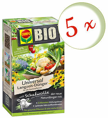 Savings Set: 5 x Compo Organic Universal Long-Term Fertilizer with Wool, 4 KG