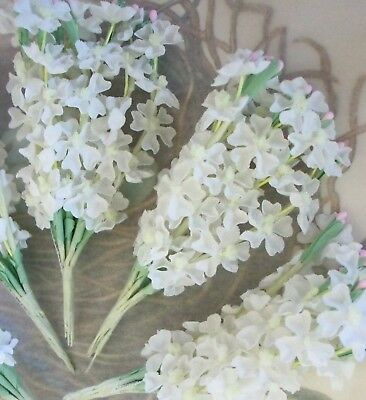 Vintage Millinery / White Lilacs / Artificial Flowers / Five Bouquets / Ruffled