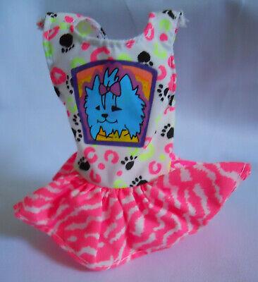 Barbie PET PALS 1990s Skipper Neon Doll Dress Animal Paw Print Westie Dog Decal