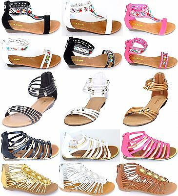Girls Kids Multi Color & Style Roman Gladiator Sandals Flats Strap Shoes Sz 9-4 - Roman Gladiators Kids
