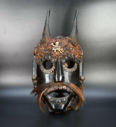 Horn  Wooden Old Tibetan Vintage wall Hanging Home Decor Mask