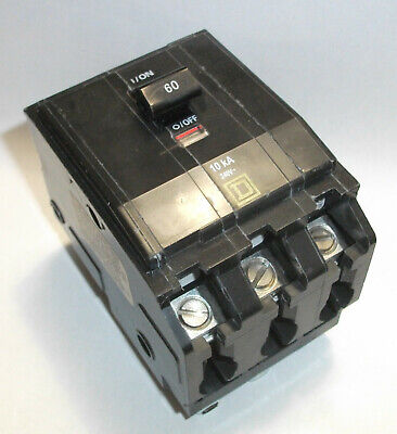- ELECTRIC SQUARE D BACK UP GENERATOR TYPE QO HRCR 60A 3 POLE CIRCUIT BREAKER NEW