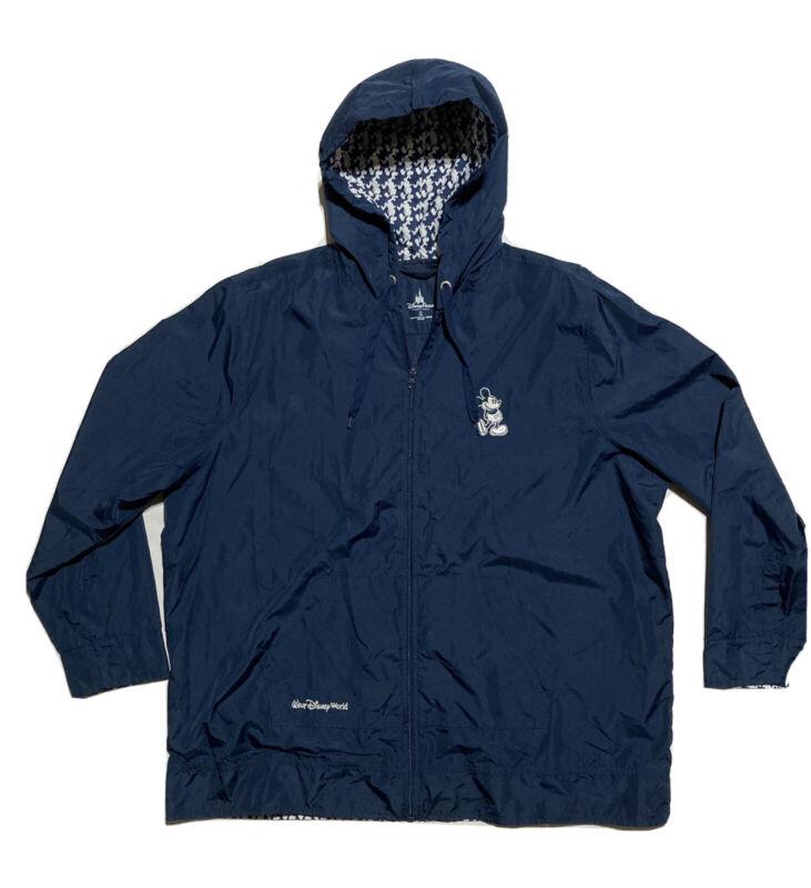 Disney Parks Mickey Hooded Windbreaker Rain Jacket Navy Blue Size 1X
