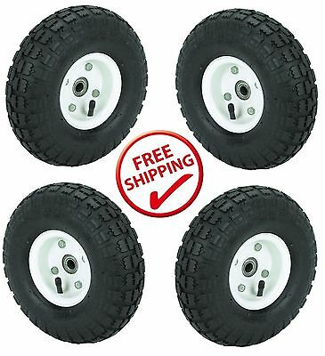 4 Tire Set 10 Steel Air Pneumatic Hand Truck Dolly Wagon Wheel Free Shipping