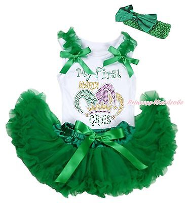 MY 1ST Mardi Gras Clown Hat White Top Green Girls Baby Skirt Cloth Outfit 3-12M - Mardigras Outfits