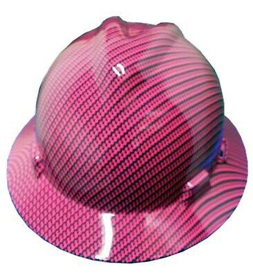 Hydrographic Pink Carbon Fiber Msa V-guard Full Brim Hard Hat