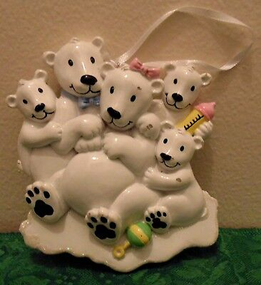 Polar Bears Family of 5 Personalized Christmas Tree Ornament Holiday Gift