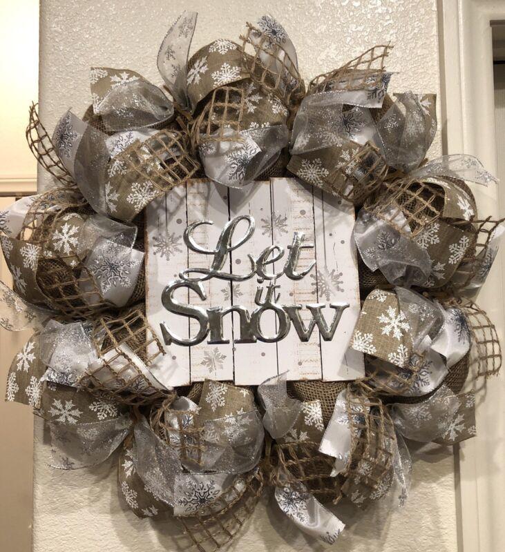 Farmhouse LET IT SNOW Burlap CHRISTMAS WREATH Deco Mesh RUSTIC Snowflakes