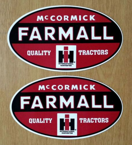 "2 McCORMICK FARMALL I H HARVESTER 5"" x 3"" VINYL DECAL STICKERS TRACTOR FARM SIGN"