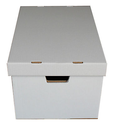 5 x WHITE ARCHIVE BOXES FOR OFFICE REMOVAL DOCUMENTS TOYS STORAGE 45cmx33cmx27