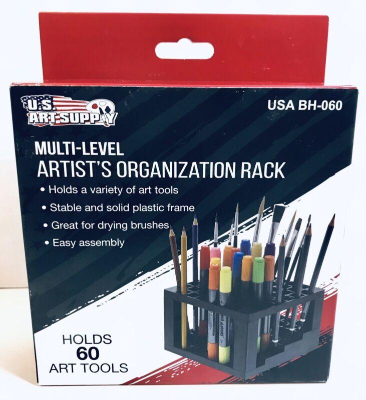 60 Hole Multi-Level Plastic Organization Rack Pencil, Brush & Supply Holder