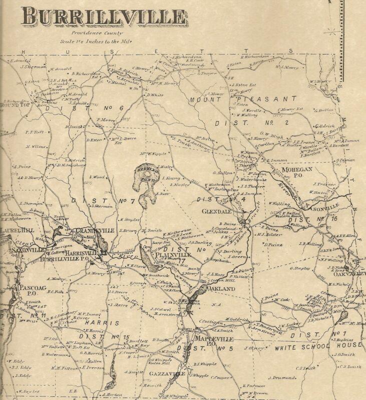 Burrillville Pascoag Harrisville Oakland  RI 1870 Maps w/ Homeowners Names Shown
