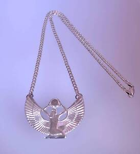 Solid Sterling Silver 925 Chain & Pendant Egyptian Goddess Isis Findon Charles Sturt Area Preview