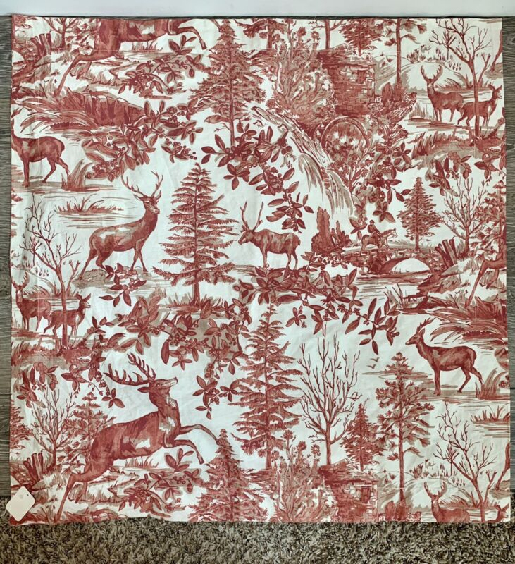 """Pottery Barn Alpine Toile Red Christmas Deer Holiday Euro Sham NEW 26"""""""