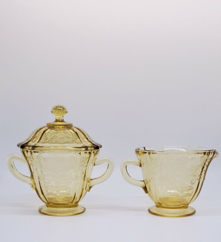 Vintage Federal Amber Yellow  Depression Glass Madrid Cream And Sugar Set W/Lid