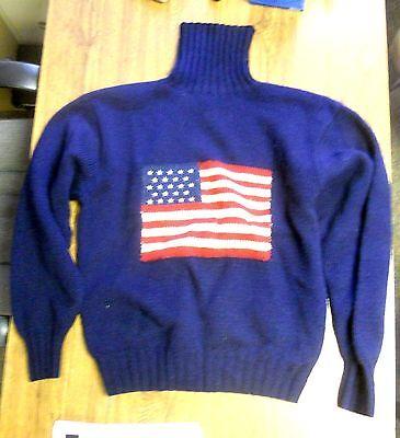 Ralph Lauren 1 of 12 Made, Very Rare Sample Turtle Neck 100% Wool Flag Sweater.
