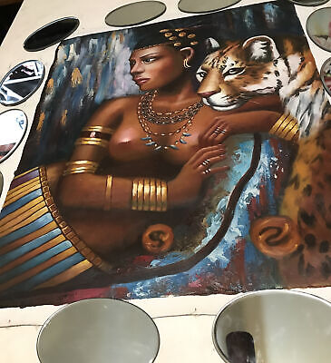 "Large Painting On Canvas Black Lady And Tiger Approx 27"" By 23"""