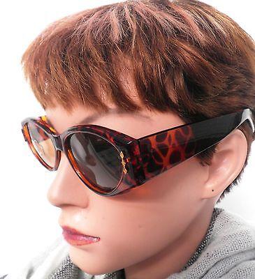 Damenbrille Retro Sonnenbrille 80er Jahre Braun/Leo Vintage Sonnenbrillen (51)