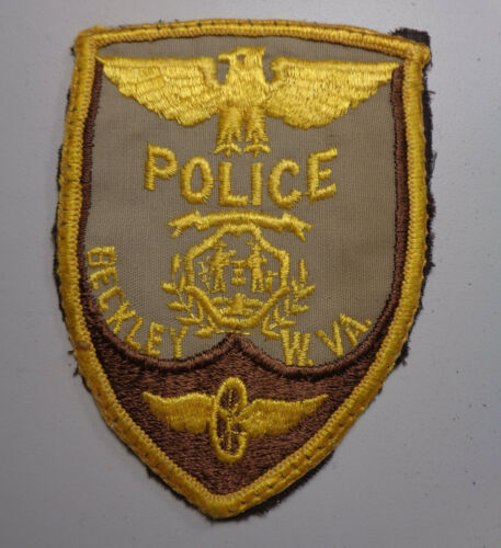 Vintage Beckley West Virginia Police Shoulder Patch Embroidered on Cheesecloth