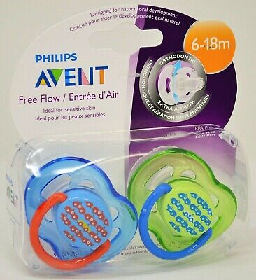 Philips Avent Free Flow Orthodontic Pacifiers 6-18 months Extra Airflow 2-pk NEW