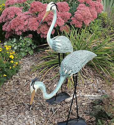 2 Blue Herons Outdoor Garden Decor Steel ...