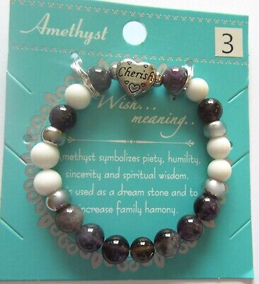 Fashion Stretch Bracelet- genuine Amethyst & white stones heart charm cherish Amethyst White Charm Bracelet