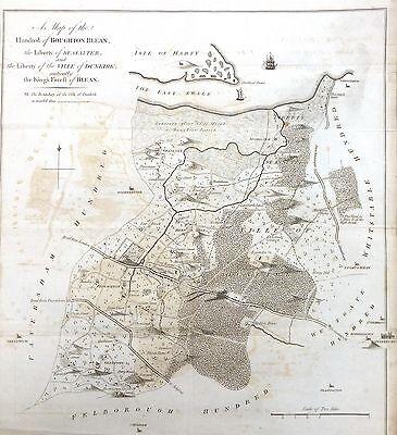 KENT, 1797 - ORIGINAL ANTIQUE MAP of Hundreds of BOUGHTON & BLEAN - HASTED.