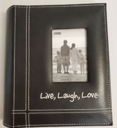 """Pioneer  Embroidered Stitched Leatherette Photo Album 9""""X7""""-Live, Laugh & Love -"""