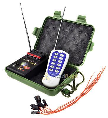 4 Cue Wireless Firework Firing Ignition System w/ Remote & 8 FREE Igniters USA