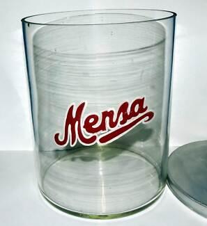 An  Advertising Mensa Shop Display Glass Jar with original lid