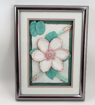 Framed Original Wet Cast Paper 3D Dimensional Pink Magnolia Flower Signed Anna