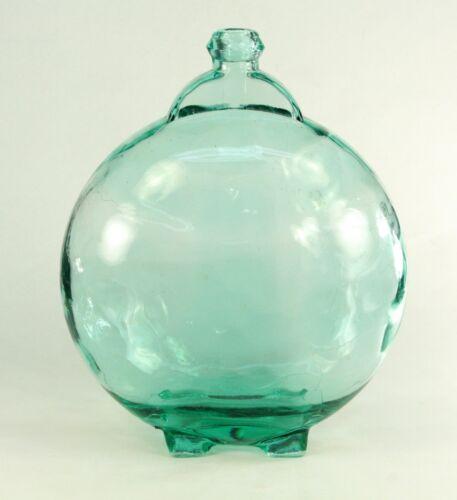 ! Antique Blown Aquamarine Glass Large Canteen Flask Bottle Demijohn