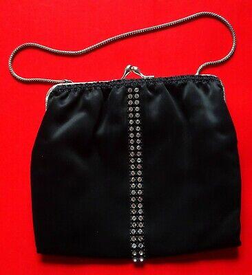 Damen Abendtasche Handtasche mit Straß schwarz Bügelverschluß Kettchen