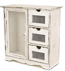 antique white wooden 3 drawer 1 door storage unit chest. Black Bedroom Furniture Sets. Home Design Ideas