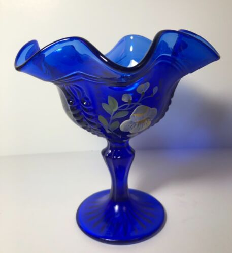 """Fenton Cobalt Glass 6"""" Ruffled Compote Pedestal Hand Painted Flower Signed Mint"""