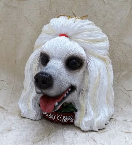"White Poodle Dog Head 4"" Christmas Ornament Holiday Kisses Pet Holiday"