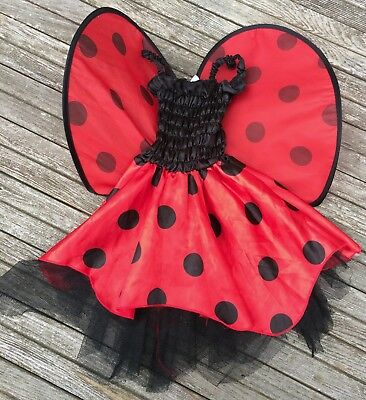 Lady Bug Costume Up to 24 Months Red Black Polka Dots Wings Fun World - Dot To Dots Halloween