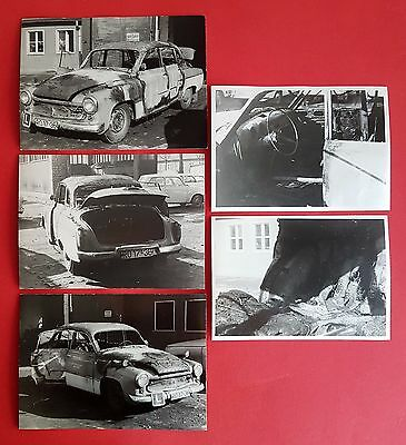 5 x DDR Unfall Foto ausgebrannter Wartburg 311 Auto Pkw    ( 21797