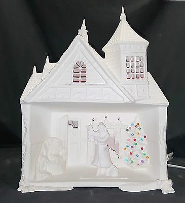 Provincial 729 Christmas Santa House *Damaged* - Ready to Paint Ceramic Bisque