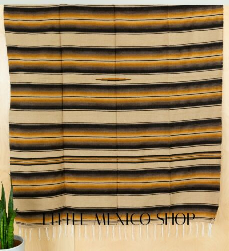 POPULAR SERAPE Mexican Blanket TAN SOUTHWESTERN 5