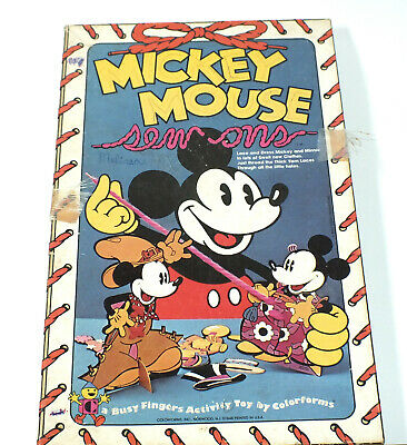 Vintage Walt Disney Mickey Mouse Sew On Cards Colorforms 1970s 1980s Minnie Toy
