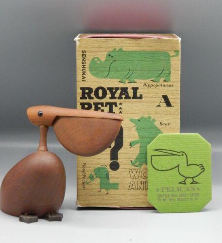 RARE vintage Japanese PELICAN Senshukai Royal Pet wood animal wooden 1970s bird