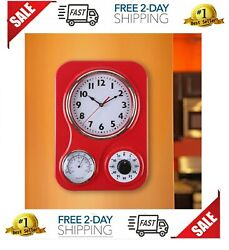 Retro Kitchen Wall Clock, with a Thermometer and 60-Minute Timer Red