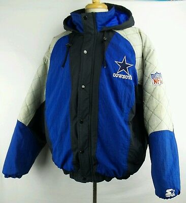 Vintage Starter NFL Dallas Cowboys Full Zip Winter Puffer Jacket Size Mens XL for sale  Shipping to Canada
