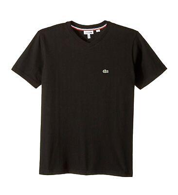 Lacoste 168370 Boys Kids Cotton Short Sleeve Solid V-Neck T-Shirt Black Size 8